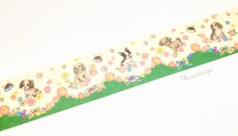 Floral puppies washi tape Franchelippee