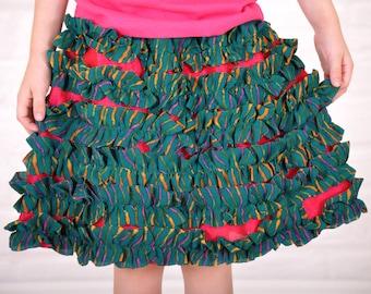 Kids ruffled skirt-2T 3T4T girls size 5 size 6-layered ruffle chiffon skirt-girls skirt-blue girls skirt-hot pink skirt