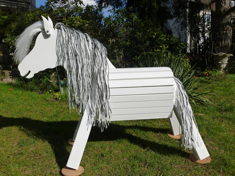 Schaukelspielzeug 110cm Holzpferd  Voltigierpferd  Pferd Lipizzaner weiß wetterfest lasiert NEU
