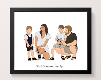 Custom faceless portrait, illustration of your own picture. birthday, anniversary, Fathers Day, family, portrait, gift, personalised print