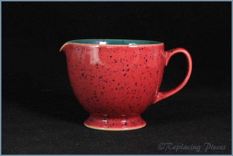 Red ExteriorGreen Interior Denby Milk Jug Harlequin