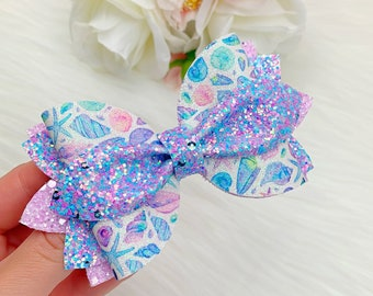 Toddler girls Birthday Hair Bow Mermaid faux leather bow Baby girls Gift. Summer bow