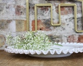 Vintage Milk Glass Silver Crest Large 15.5 Cake Plate or Serving Platter with Ruffled Edge by Fenton for Wedding Decor