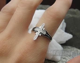 silver Alpaca ring Handmade women/'s cross Greek ancient art Ring cross