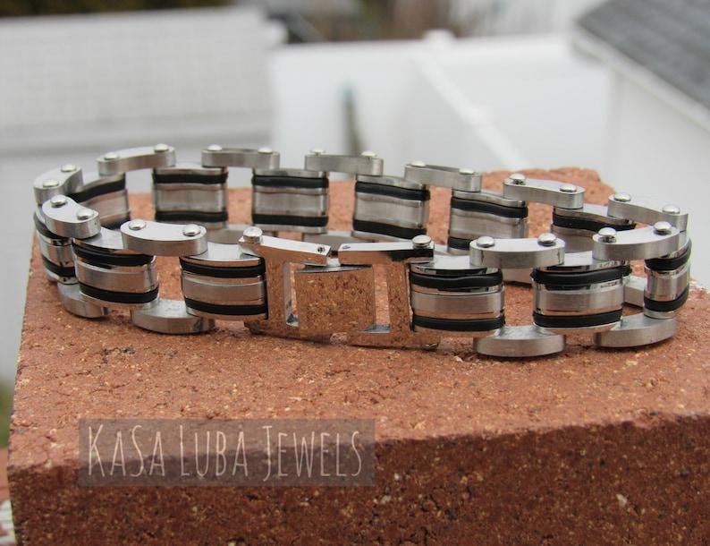 8.5 and 9 inch mens chunky bracelet biker jewelry curb Bracelet Stainless black steel mens bracelet