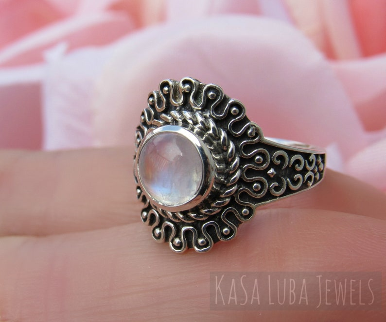 Silver Rainbow moonstone ring bold Sterling silver statement ring unique Oxidized Ring