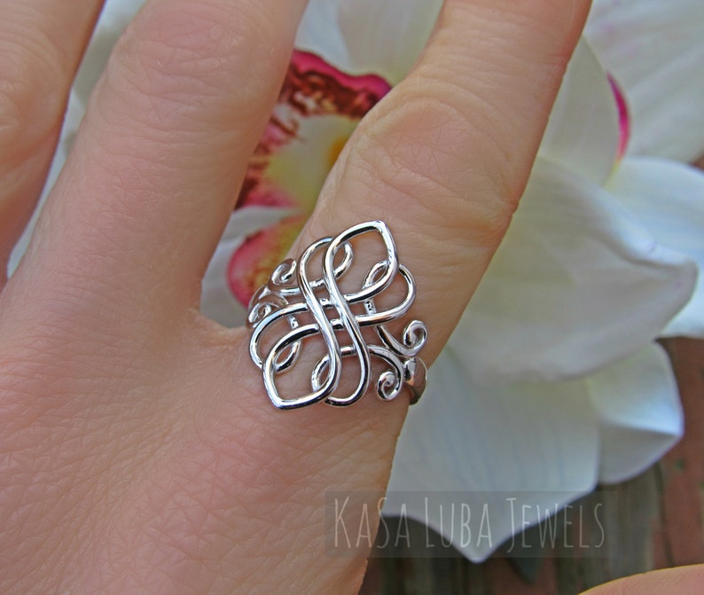 statement ring silver ring unique ring Celtic silver ring