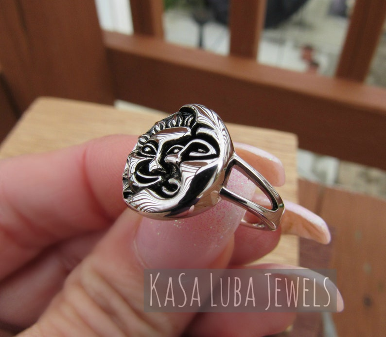 Sun and Moon Mens Womens Sterling silver ring sizes 6-13 SOLID sterling stamped 925 silver Tarnish free