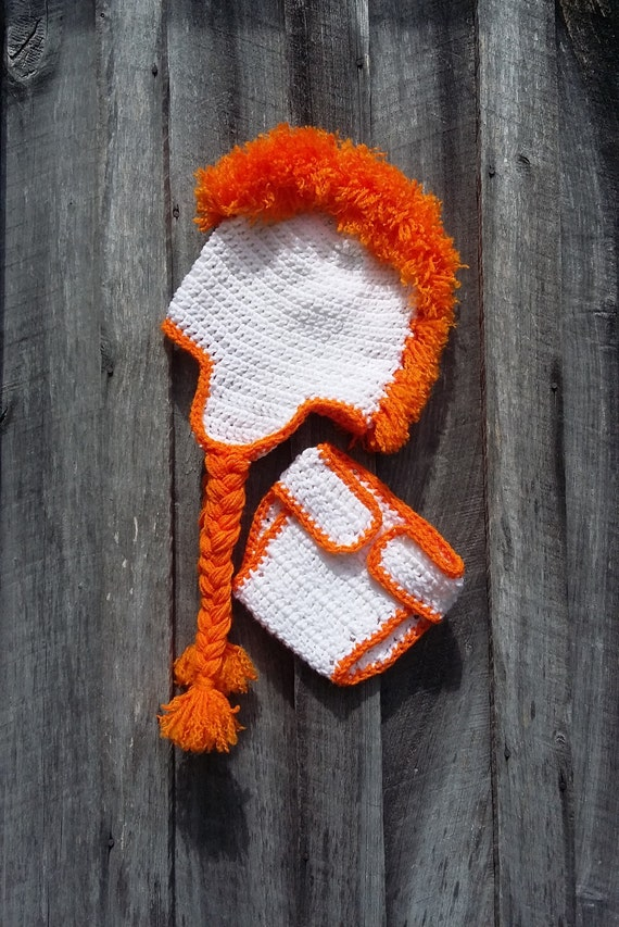 Orange And White Tennessee Inspired Crochet Mohawk Hat And Etsy
