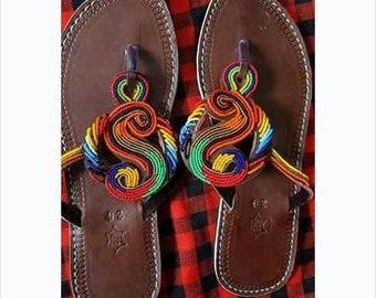 Masaai africano di perline a mano sandali estate scarpe-piatto capovolgere  dono di sandali di cuoio infradito-greco greco-Sandali Sandali-vacanza  infradito- ... ea82115211f