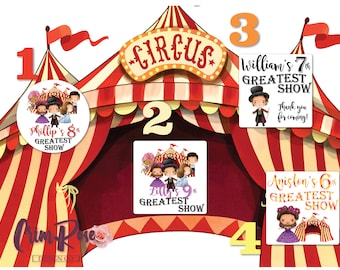 The Greatest Showman Stickers, Party Favor Tags, Personalized