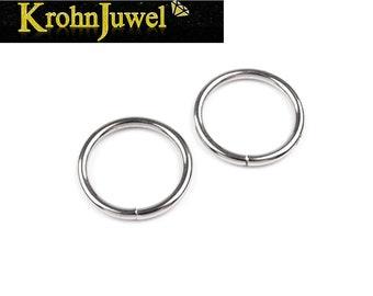 V07b Edelstahl Karabiner Ring 14,5 mm Verschluss Armband Halskette Collier Donut