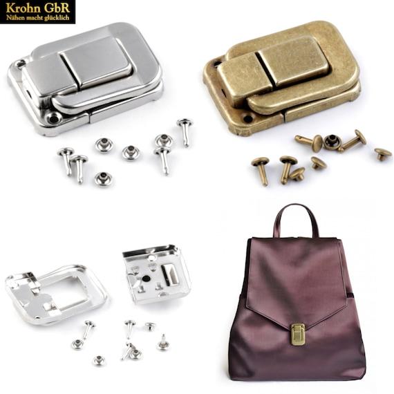Taschenverschluss Kofferverschluss 32 x 48 mm  in nickel und altmessing