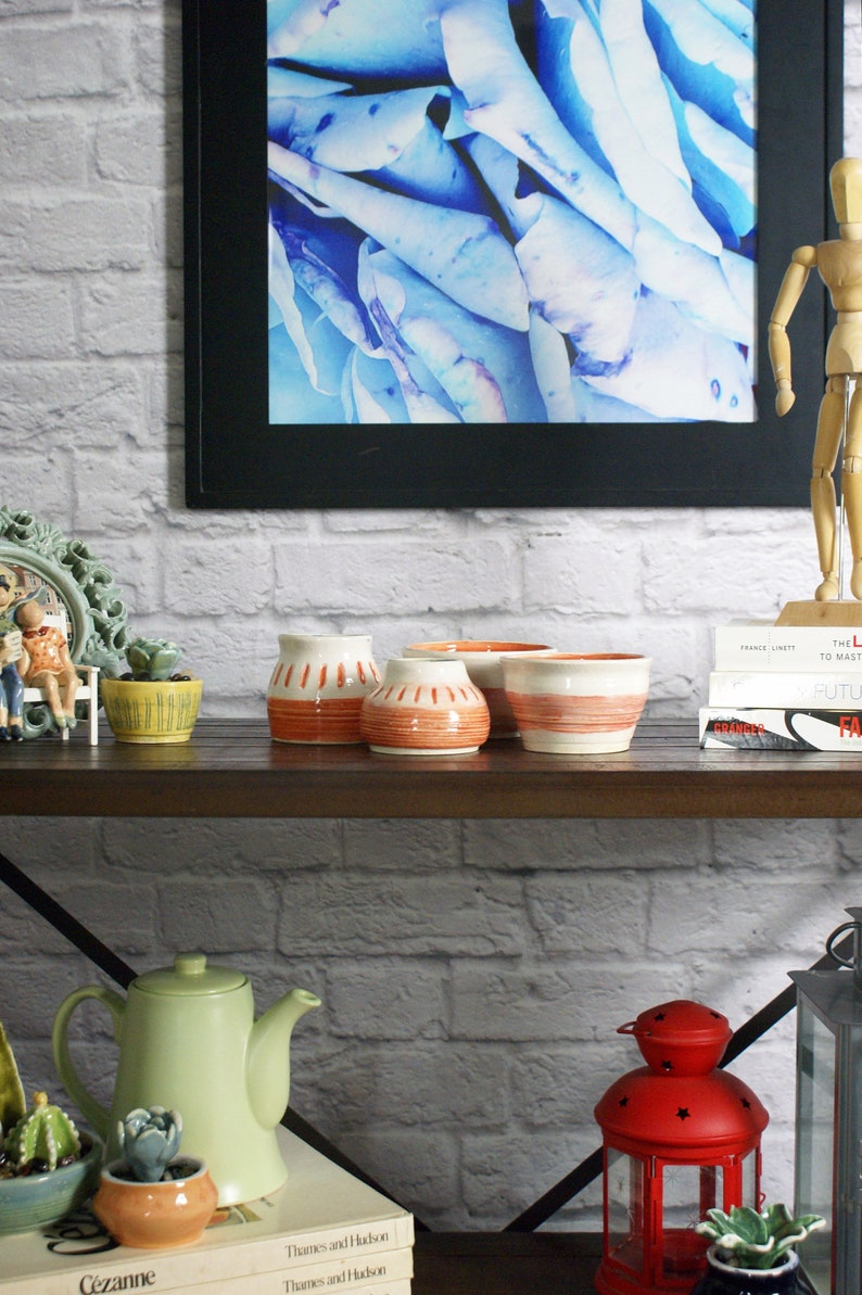 Handmade Ceramic Bowls and Vases in Tangelo and Blue