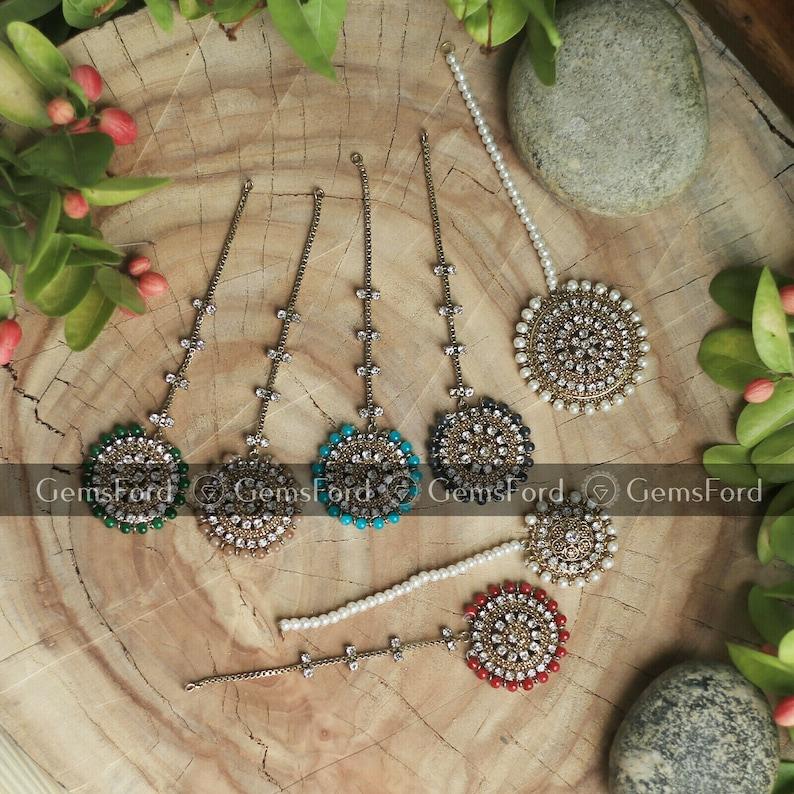 Pakistani Jewellery Antique Design Tikka Jhumar Hair Chain Bridal fashion Indain Jewellery