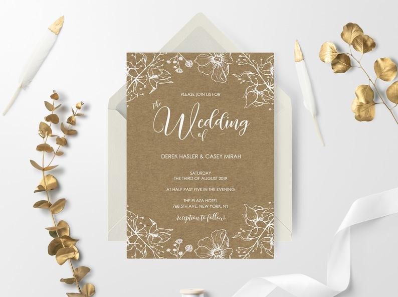 Rustic Wedding Invitation Floral Invitation Digital Download Printable Wedding Invitation Template Vintage Wedding Invitation Set