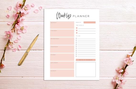 Minimalist 3 US Letter A4 Productivity Planner Printable Weekly Planner Planner Insert Planner Page Floral Week Schedule
