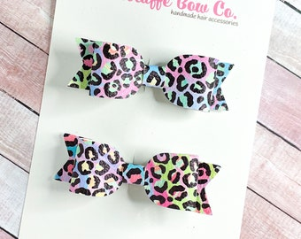Rainbow leopard print pigtail set hair clips/90s throwback retro hair accessory/nostalgic hair bow clip