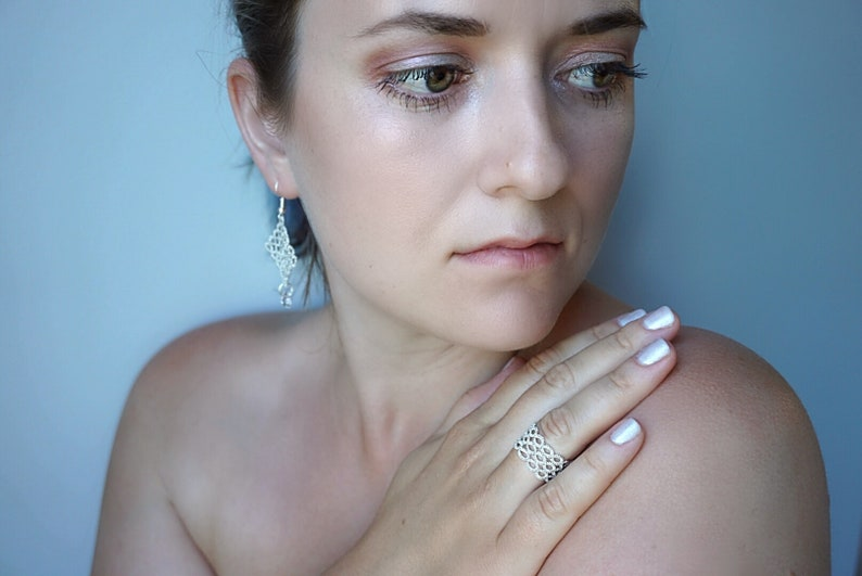 MADE TO ORDER by Lumie Lace Lace Jewelry Anniversary or Birthday Gift for Her White Gold Tatted Earrings and Ring Set