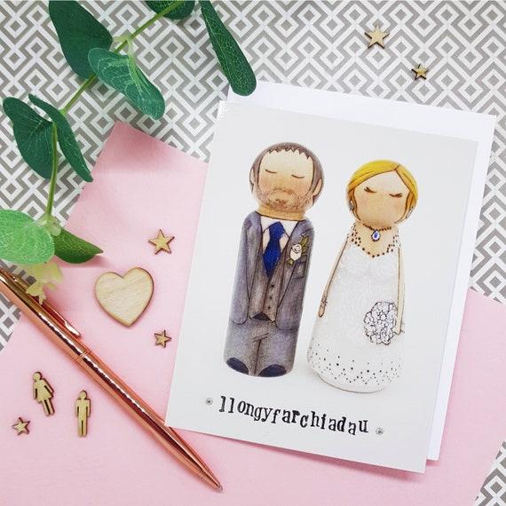 Welsh Wedding Card Mr a Mrs Llongyfarchiadau On Your Wedding Day Card