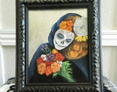 Beautiful Unique Day of the Dead Sugar Skull Painting, Halloween Painting