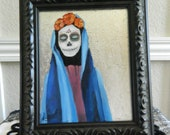 Unique and Colorful Day of the Dead Sugar Skull Painting, Halloween Painting