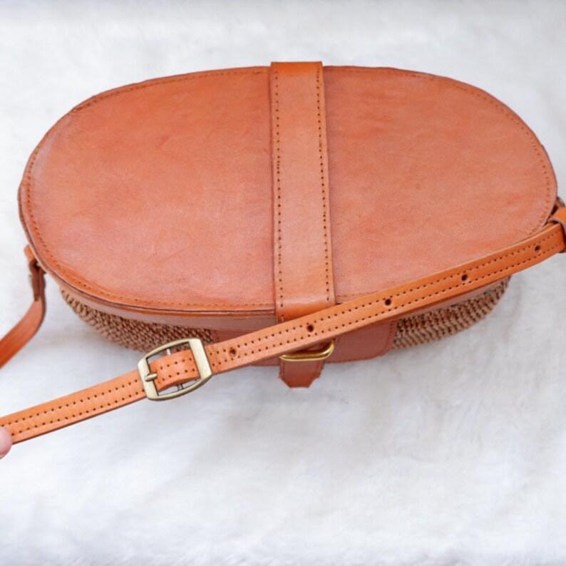 faa19f40907a05 Pumpkin Style Combination Leather Rattan Bag Original Bali   Etsy