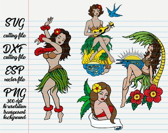 4103784f1806e Old school Tattoo Hawaiian Hula Girl silhouettes / Silhouette /Silhouette  svg /animal clipart / black and white / SVG file for cut