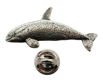 Engraved Killer Whale Tie Tack