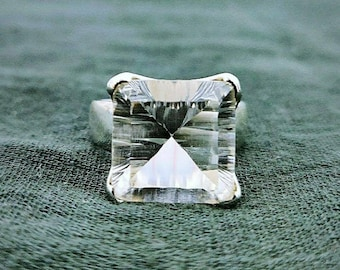 High Quality Rock crystal RING Clear Quartz Gemstone from Brazil Cocktail jewelry set Party ring