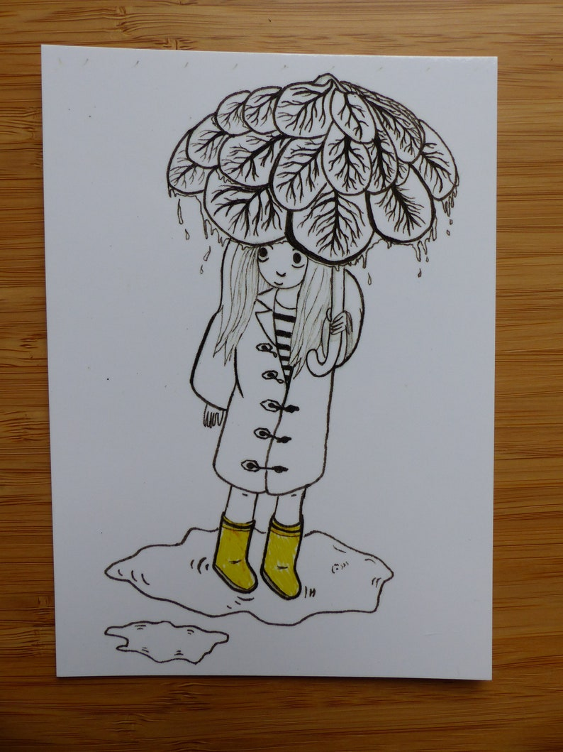 Postcard   Illustration   greeting card   Postcard   Autumn Rain   autumn rain   Rainy days