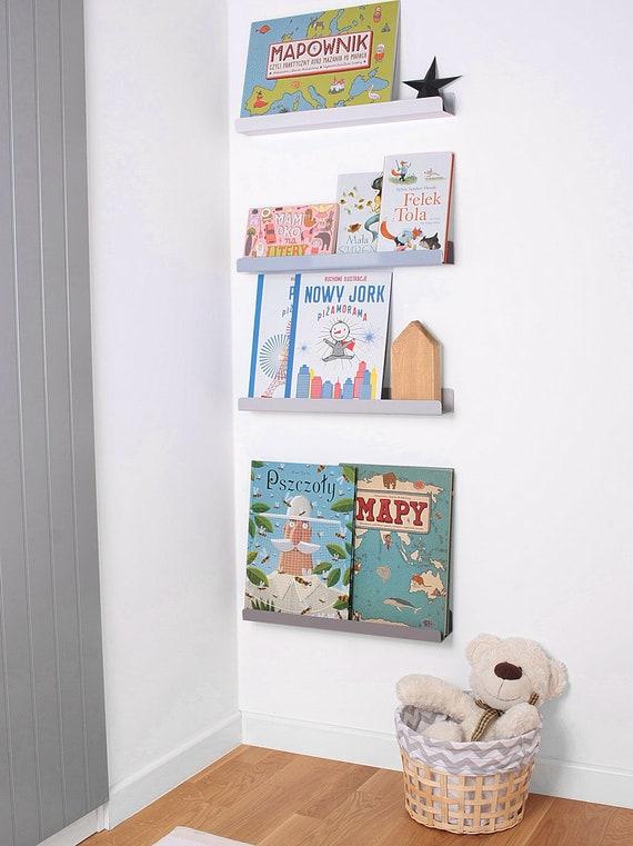 Półka Na Książki Plakaty Zabawki Zdjecia Szara