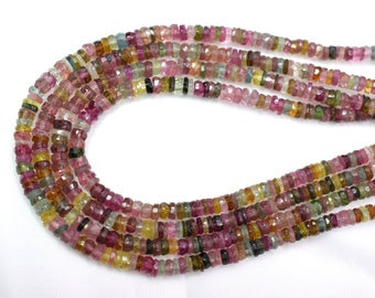 15.25 Inches Long Strand AAA Natural Multi Tourmaline Smooth Tyre Rondelles Size 4-4.25mm