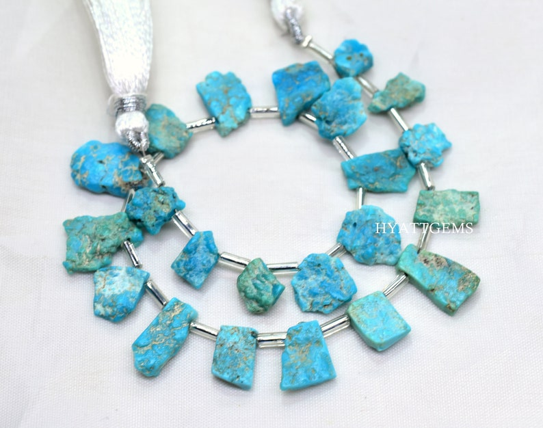 8 Inches Arizona Turquoise Rough Slice Beads Natural Arizona Turquoise Raw Gemstone Briolette Beads Size 6x8 To 10x12 mm Top Quality