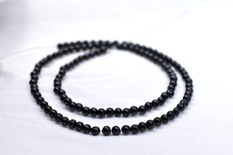 13 Inches Smooth Black Tourmaline Round Beads Natural Gemstone Black Tourmaline Beads Size 3 mm Top Quality