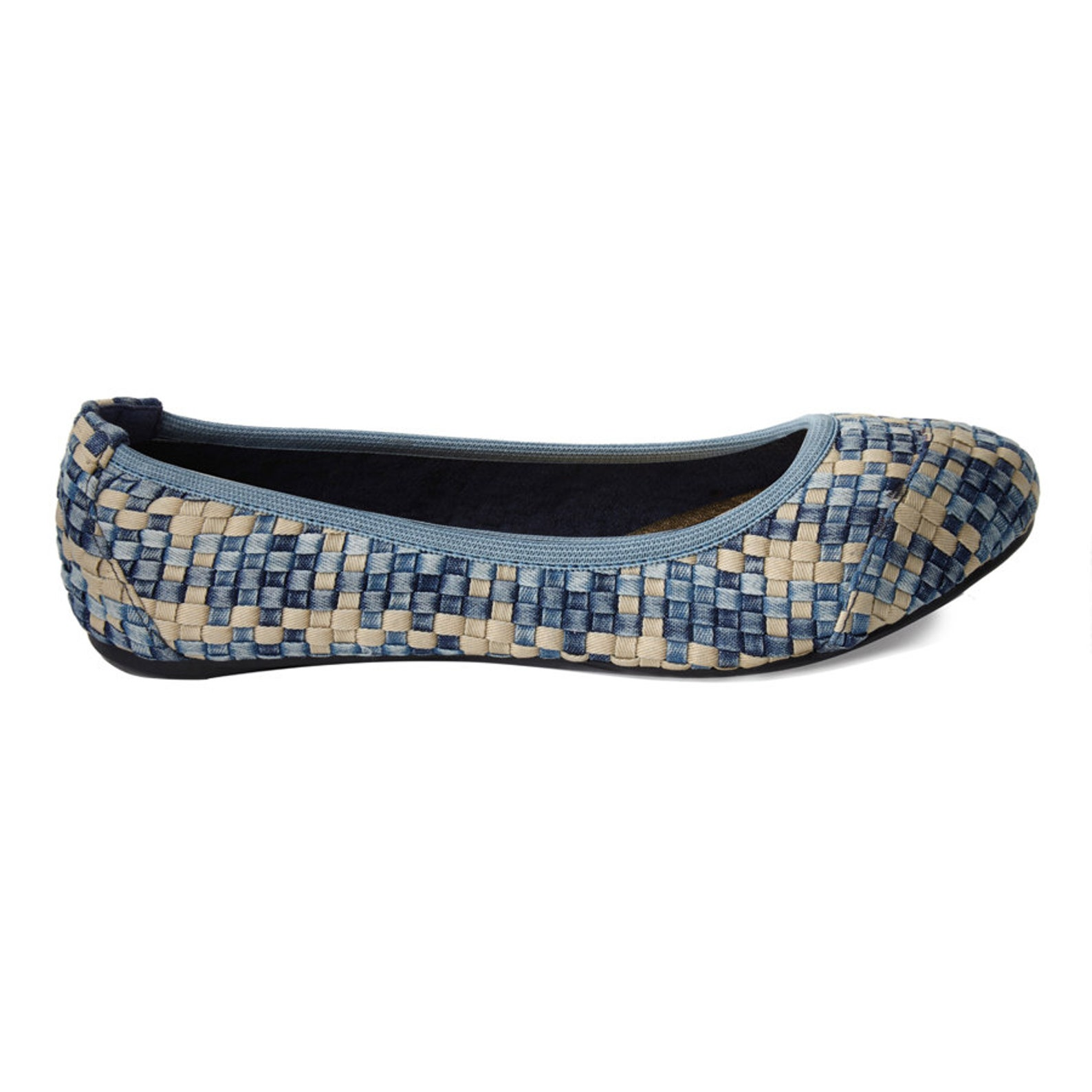 cocorose foldable shoes - barbican ladies ballet pumps - woven denim