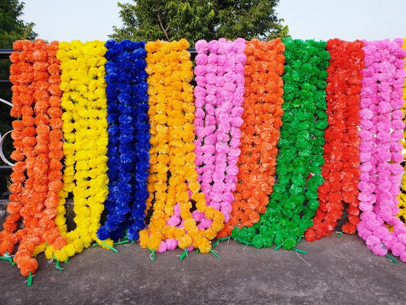 100 Pcs  Artificial Garlands Marigold Flower diwali decoration flower toran rainbow christmas outdoor Fluffy Flowers Garlands for Decoration
