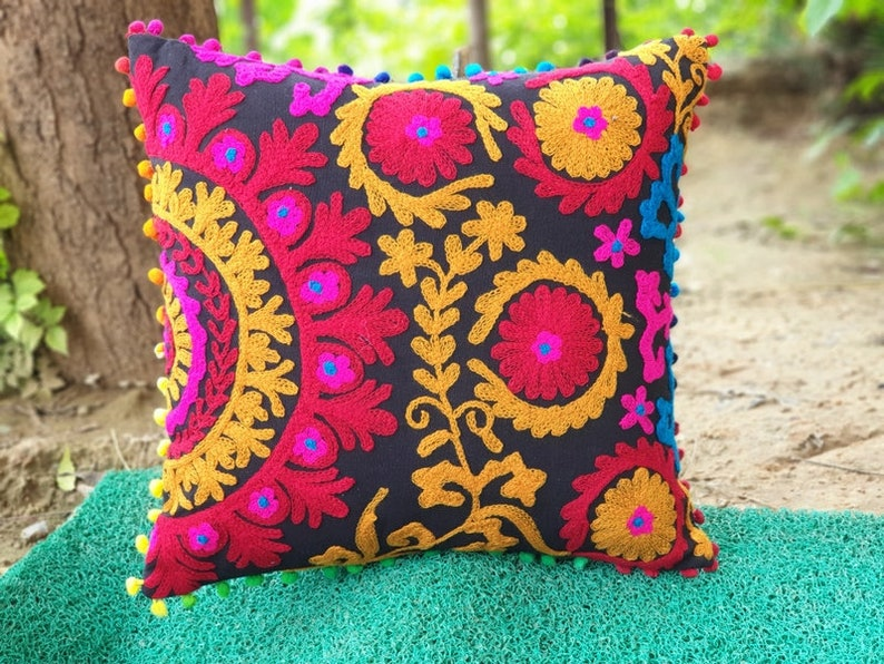 Lot of 10 Cushion Covers Suzani Cushion Cover Indian Handmade Cotton Cushion Cases Wool Embroidered Gift for him or her Interior Decor 16