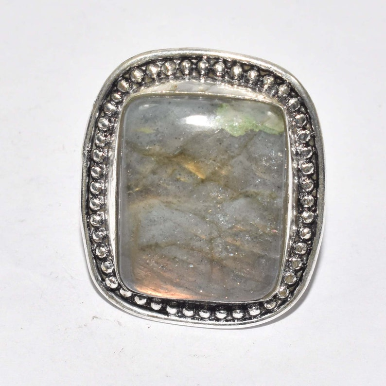 Fusion Vintage Healing Labradorite RingChunky Labradorite RingHandmadeGemstone Ring 925 Silver Jewelry Ring Size-10 Party Ring