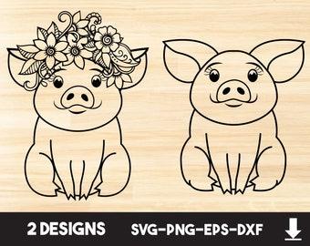 Pig SVG Baby Cut File Eyelashes Hand Drawn Pig Svg Girl Pig Svg Farm svg Baby Pig Svg Instant Download Dxf Farm Life Svg Piglet Svg