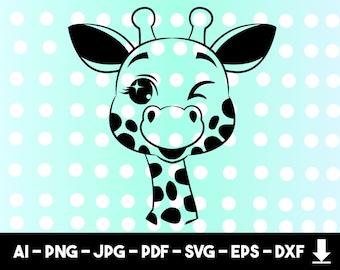 Giraffe Cut File Etsy