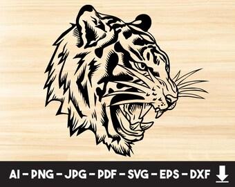 Tiger Svgtiger Cliparttiger Silhouettetiger Football Etsy