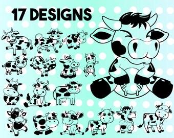 Cartoon cow head | Etsy