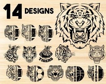 Tiger bundle svg,tiger svg,tiger clipart,tiger silhouette,tiger football svg,tiger head svg,tiger face svg,tiger vector