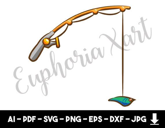 Fishing Pole Svg Fishing Pole Cricut Fishing Pole Cartoon Etsy
