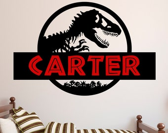 Jurassic Park Wall Decal - Dinosaur Wall Decor Art Kids Sticker Vinyl Mural  Custom Nursery Gift b6319db600