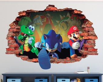 34e504955c8 Mario Bros Friends Wall Decal - Sonic the Hedgehog 3D Brick Smashed Decor  Art Kids Sticker Vinyl Mural Personalized Gift
