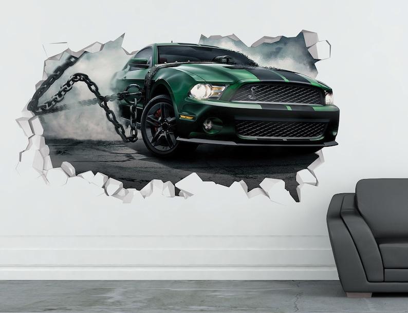 Sport Car 3D Smashed Decor Art Kids Sticker Vinyl Mural Custom Nursery Gift Mustang Shelby Wall Decal