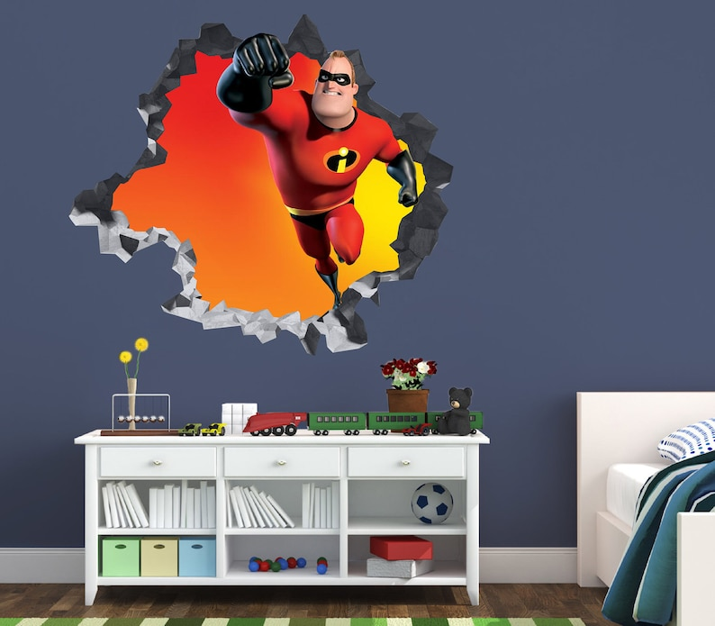 Movie 3D Brick Smashed Decor Art Kids Sticker Vinyl Mural Custom Gift Batman Wall Decal