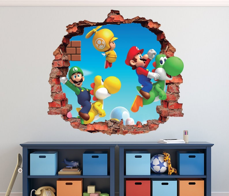 Mario Bros Wandtattoo Super Mario World 3D Ziegel   Etsy